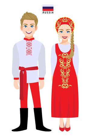Couple of cartoon characters in Russia traditional costume vector 向量圖像