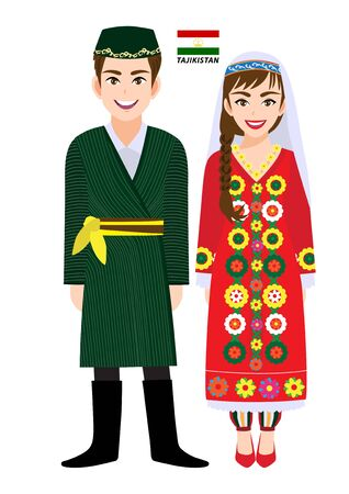 Couple of cartoon characters in Tajikistan traditional costume vector