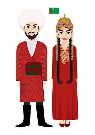 Couple of cartoon characters in Turkmenistan traditional costume vector