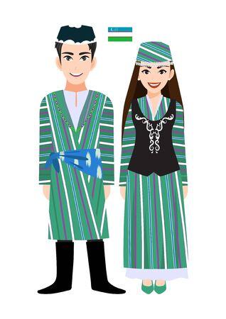 Couple of cartoon characters in Uzbekistan traditional costume vector 向量圖像