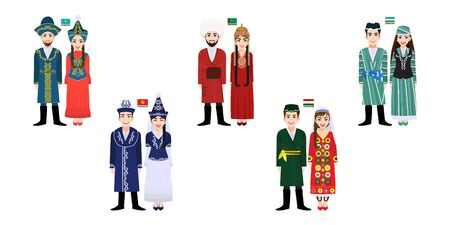 Set of 10 Central Asia men and women cartoon characters in traditional costume with flag, Kazakhstan, Kyrgyzstan,Tajikistan, Turkmenistan and Uzbekistan people vector