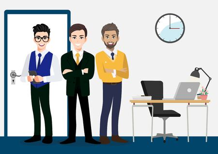 Teamwork concept with businessman cartoon character design. three males standing in the office area. Flat vector illustration. 向量圖像