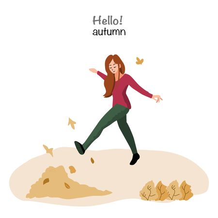 Lady in the autumn park having fun in autumn leaves background. Casual female in forest in fall vector