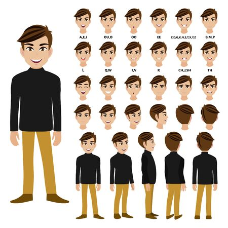 Cartoon character with male in long-sleeved turtleneck t-shirt for animation. Front, side, back, 3-4 view character. Flat vector illustration.