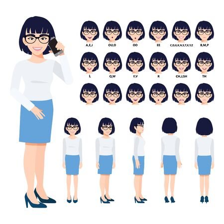 Cartoon character with Chinese business woman in suit for animation. Front, side, back, 3-4 view character. Separate parts of body. Flat vector illustration.