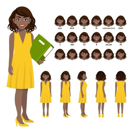 Cartoon character with African American business woman in casual wear for animation. Front, side, back, 3-4 view character. Separate parts of body. Flat vector illustration.