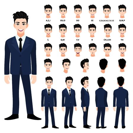 Cartoon character with handsome business man in suit for animation. Front, side, back, 3-4 view character. Separate parts of body. Flat vector illustration. 向量圖像