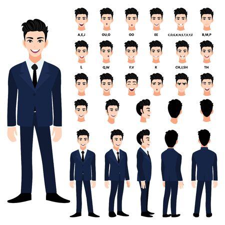 Personnage de dessin animé avec un bel homme d'affaires en costume d'animation. Avant, côté, arrière, personnage de vue 3-4. Séparer les parties du corps. Illustration vectorielle plane.