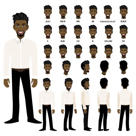 Cartoon character with African American business man in smart shirt for animation. Front, side, back, 3-4 view character. Separate parts of body. Flat vector illustration. 向量圖像