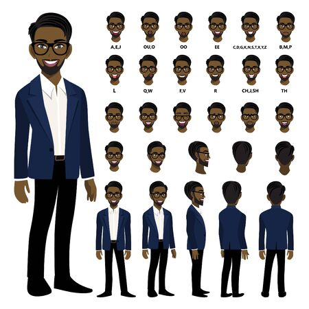 Cartoon character with African American business man in smart suit for animation. Front, side, back, 3-4 view character. Separate parts of body. Flat vector illustration. 向量圖像