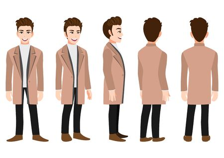 Cartoon character with business man in a long coat for animation. Front, side, back, 3-4 view animated character. Flat vector illustration.