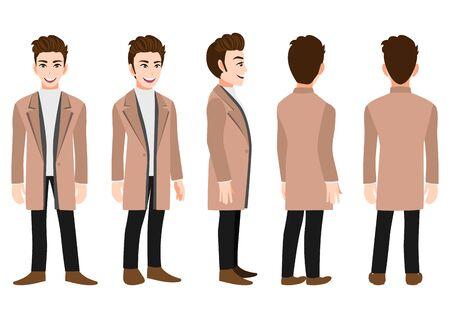 Personaje de dibujos animados con hombre de negocios con un abrigo largo para animación. Carácter animado de vista frontal, lateral, posterior, 3-4. Ilustración de vector plano.