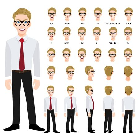Cartoon character with handsame business man in smart shirt for animation. Front, side, back, 3-4 view character. Separate parts of body. Flat vector illustration. 向量圖像