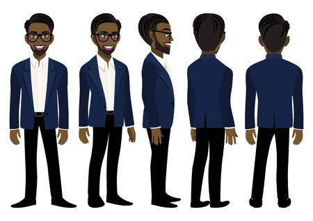 Cartoon character with American African business man in a blue suit for animation. Front, side, back, 3-4 view animated character. Flat vector illustration.