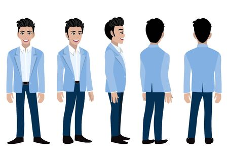 Cartoon character with business man in a blue suit for animation. Front, side, back, 3-4 view animated character. Flat vector illustration.