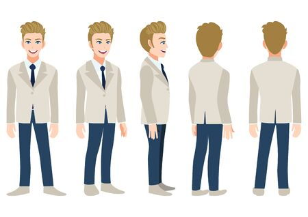Cartoon character with business man in a gray suit for animation. Front, side, back, 3-4 view animated character. Flat vector illustration. 向量圖像
