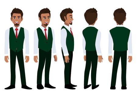 Cartoon character with American African business man in a smart shirt and waistcoat for animation. Front, side, back, 3-4 view animated character. Flat vector illustration. 向量圖像