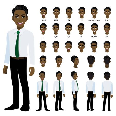 Cartoon character with American African business man in smart shirt for animation. Front, side, back, 3-4 view character. Separate parts of body. Flat vector illustration. 向量圖像
