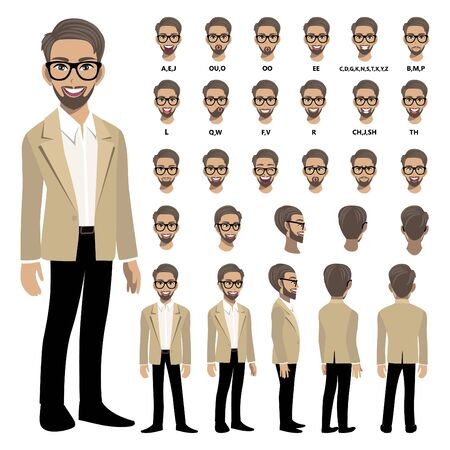Cartoon character with business man in smart suit for animation. Front, side, back, 3-4 view character. Separate parts of body. Flat vector illustration.