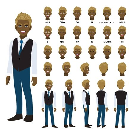 Cartoon character with African American business man in smart shirt and waistcoat for animation. Front, side, back, 3-4 view character. Separate parts of body. Flat vector illustration.