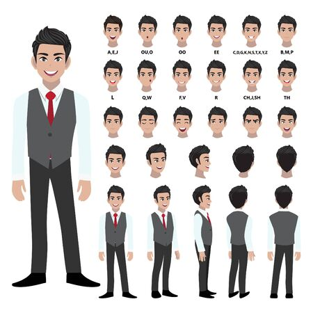 Cartoon character with business man in smart shirt and waistcoat for animation. Front, side, back, 3-4 view character. Separate parts of body. Flat vector illustration.