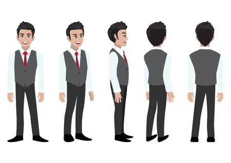 Businessman cartoon character head set and animation. Front, side, back, 3-4 view character. Flat icon design vector 向量圖像