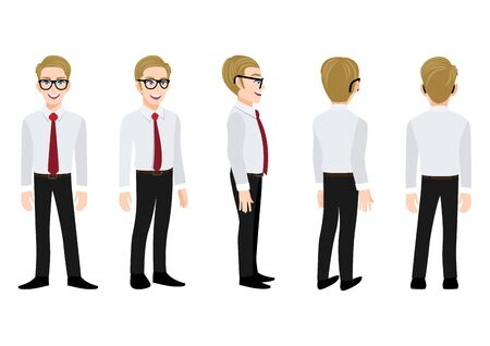 Cartoon character with business man in a smart shirt for animation. Front, side, back, 3-4 view animated character. Flat vector illustration.