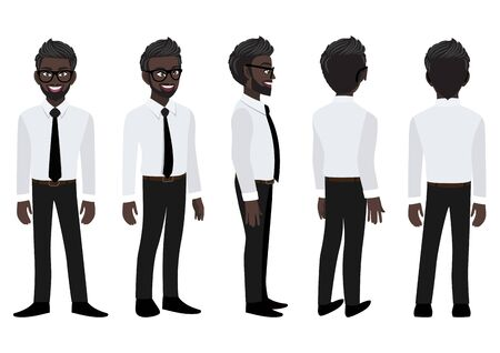 Cartoon character with American African business man in a smart shirt for animation. Front, side, back, 3-4 view animated character. Flat vector illustration. 向量圖像