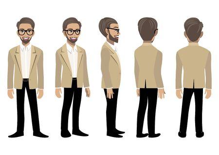 Personaje de dibujos animados con hombre de negocios en un traje elegante para animación. Carácter animado de vista frontal, lateral, posterior, 3-4. Ilustración de vector plano.