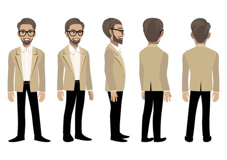 Cartoon character with business man in a smart suit for animation. Front, side, back, 3-4 view animated character. Flat vector illustration.