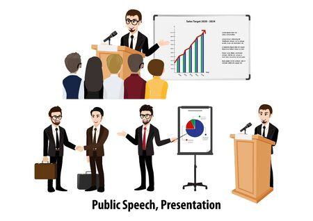 Cartoon character with businessman doing presentation or pitching a speech. Conference Illustration. Flat icon set vector