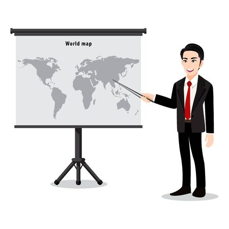 Cartoon character with a man presentation on map. Teacher or lector showing the map with pointer. Flat illustration vector