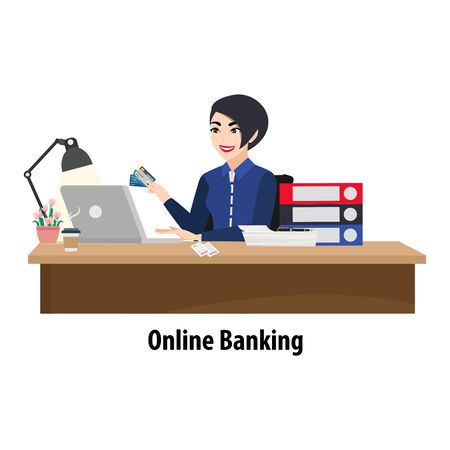 Cartoon character with woman paying a bill online on a laptop. Bank clerk at the table issuing a credit card and bills and papers heap. Flat icon vector illustration