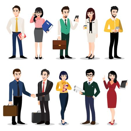 Cartoon character with set of business people. Men and women in office clothes. Colorful flat icon illustration vector