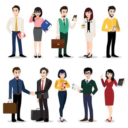 Zeichentrickfigur mit Geschäftsleuten. Männer und Frauen in Bürokleidung. Bunter flacher Ikonenillustrationsvektor