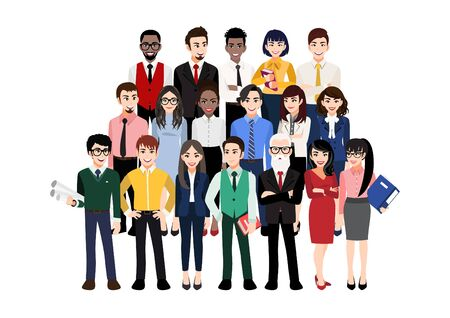 Cartoon character with modern business team. Vector illustration of diverse business people and company members, standing behind each other. Isolated on white.