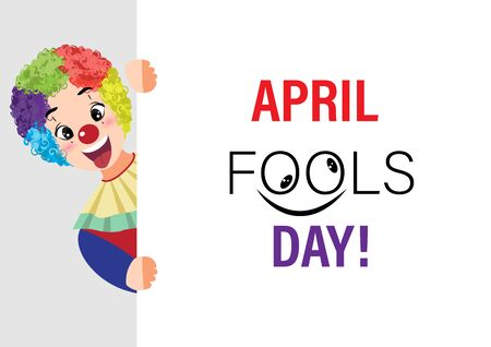 Cartoon character with april fools day performance clown explosive head on white background. colorful desing. vector illustration