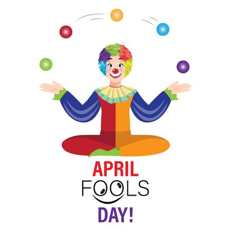 Cartoon character with april fools day performance clown explosive on white background. colorful desing. vector illustration