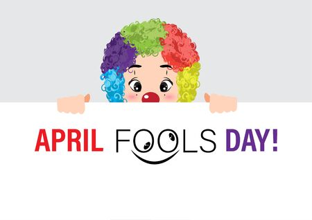 Cartoon character with april fools day performance clown explosive on white background. colorful design. vector illustration Иллюстрация