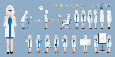 Cartoon character with a professional female doctor or medical worker wearing medical mask on face in different poses to fight corona-virus. Flat icon design