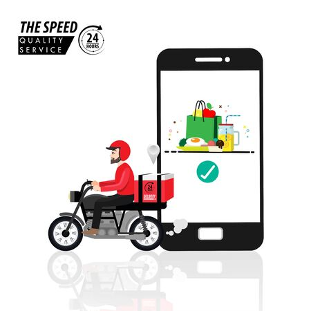 Food delivery app on a smartphone tracking a delivery man on a moped with a ready meal, technology and logistics concept in the mirror background vector.