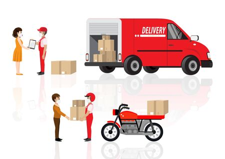 Coronavirus, quarantine delivery. Online order and product express or parcel delivery concept. Courier with medical, protective, respiratory mask driving bicycle and car. Vector illustration Иллюстрация