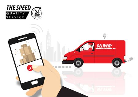 Corona virus, quarantine delivery. Online order and the parcel delivery concept. Courier with medical, protective, respiratory mask driving van car. Vector illustration