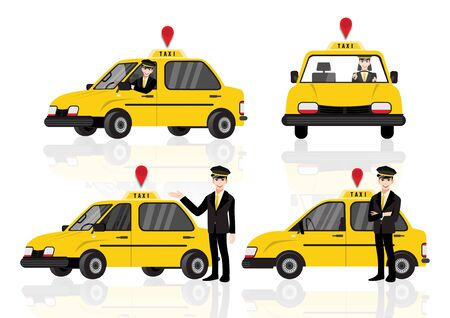 Cartoon character set with Smiling young taxi driver near his car.Taxi service. Vector illustration in flat style