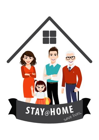 Cartoon character with stay home banner template. Family standing in home. Quarantine or self-isolation. Health care concept. Fears of getting corona virus. Trendy flat icon vector