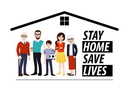 Cartoon character with stay home banner template. Family standing in home. Quarantine or self-isolation. Health care concept. Fears of getting corona virus. Trendy flat icon vector Vectores