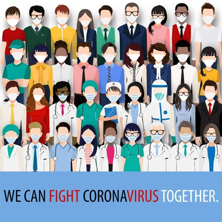 Cartoon character with doctors, nurses and people wearing face masks standing fighting for Corona virus, Covid-19 pandemic. Corona virus disease awareness vector