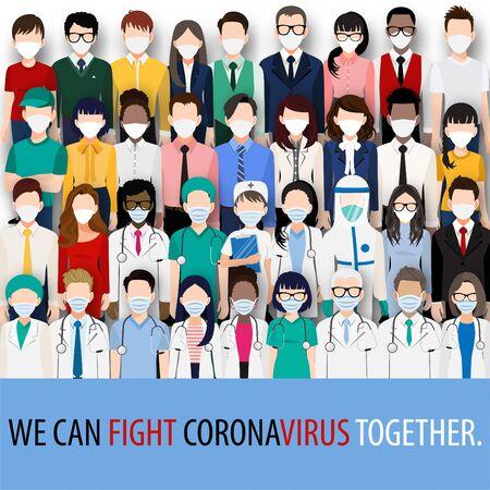 Personnage de dessin animé avec des médecins, des infirmières et des personnes portant des masques faciaux se battant contre le virus Corona, pandémie de Covid-19. Vecteur de sensibilisation à la maladie du virus Corona
