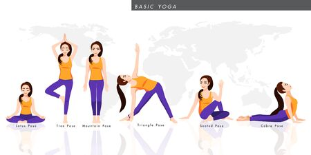 Cartoon character with a collection of basic yoga. Female practicing six pose yoga, healthy lifestyle in flat icon design vector illustration Vetores