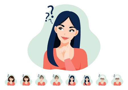 Cartoon character with thinking lady or female have problems. Women face set flat icon style vector
